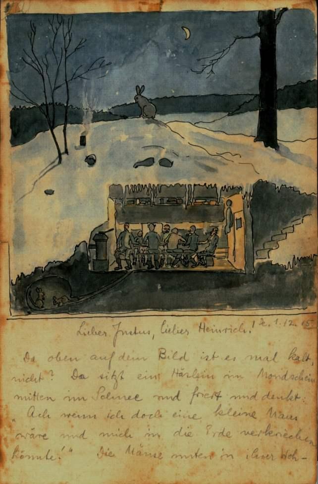 מכתבו המאויר של אוטו מאייר, אביו של אנדריאס|צילום: באדיבות מוזיאון היקים